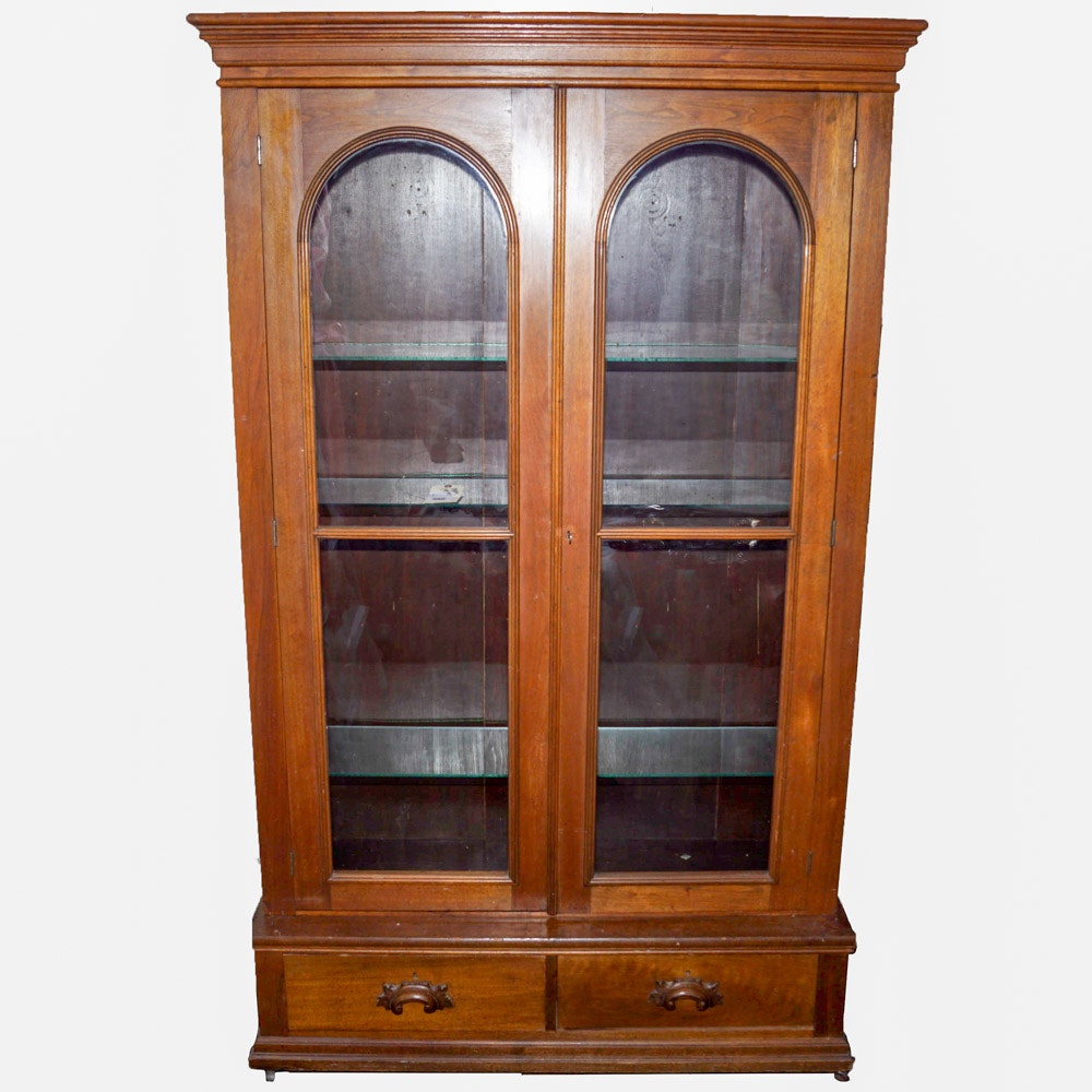 Antique Wood Display Cabinet