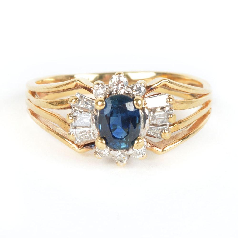 14K Yellow Gold 1.50 DWT Sapphire and Diamond Ring