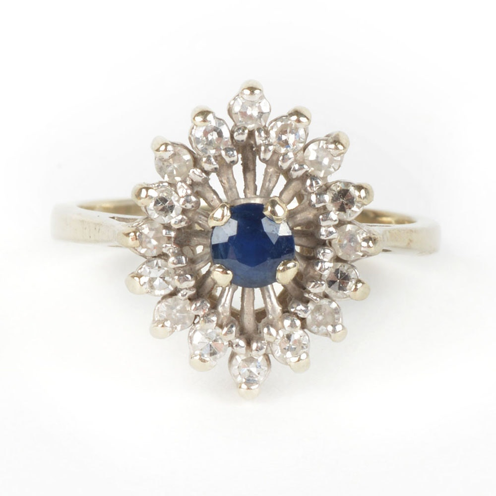 14K White Gold Cocktail Ring with Center Sapphire Surrounded by Diamonds