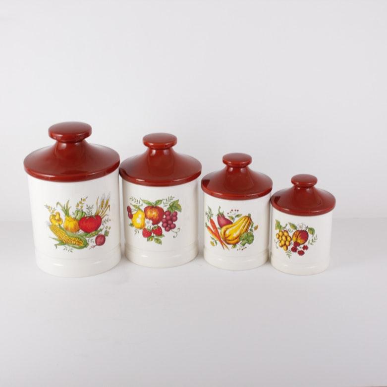ceramic kitchen canister set ebth ceramic kitchen canister set