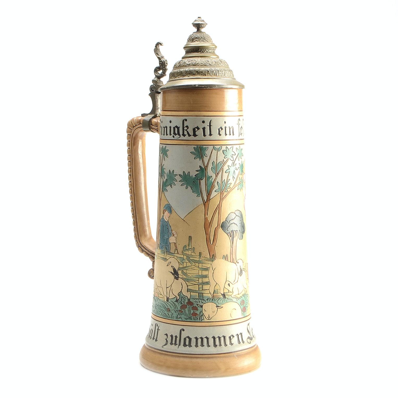 Vintage German Ceramic Two Liter Beer Stein Ebth