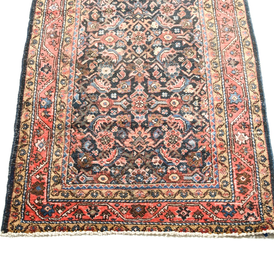 Hand Knotted Persian Tabriz Wool Area Rug Ebth: Semi-Antique Hand Knotted Persian Tabriz Carpet Runner
