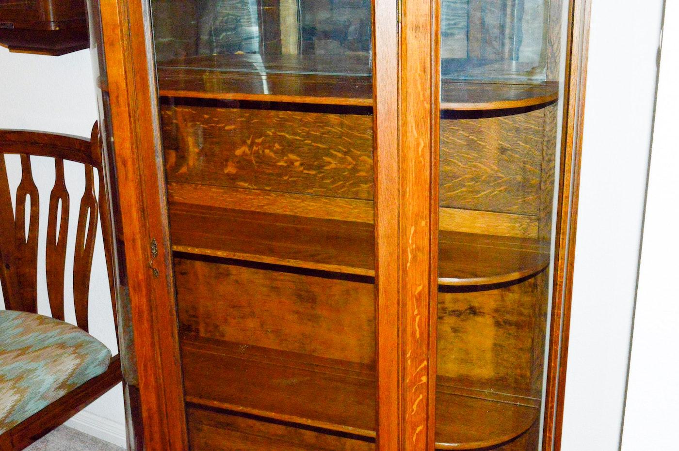 vintage demilune oak vitrine cabinet ebth. Black Bedroom Furniture Sets. Home Design Ideas