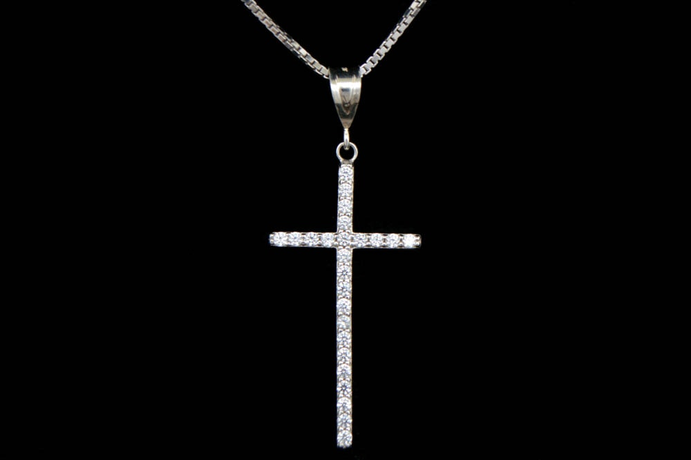 Sterling Silver and CZ Cross Pendant with Chain