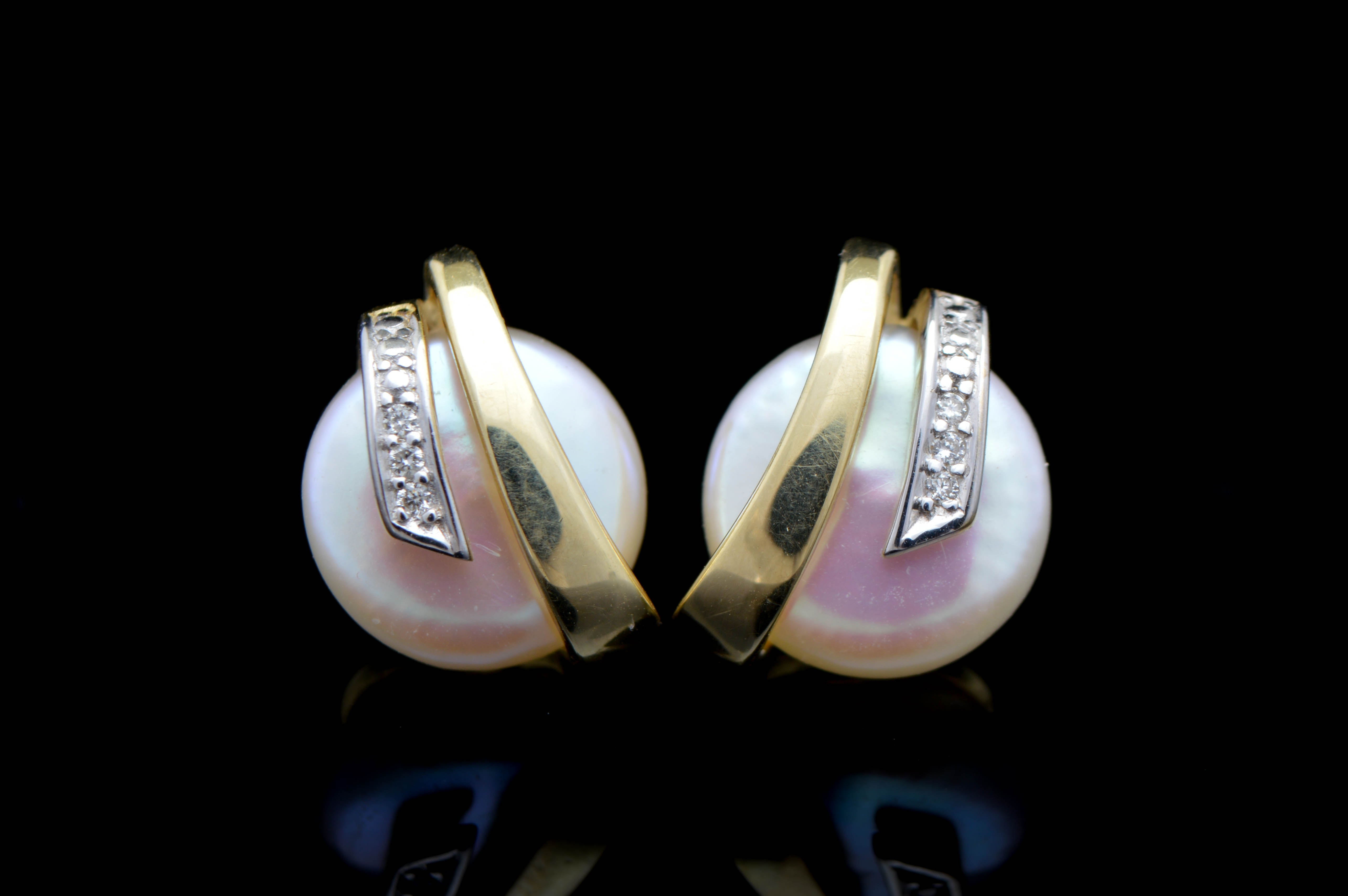 14K Yellow Gold, Pearl and Diamond Button Earrings