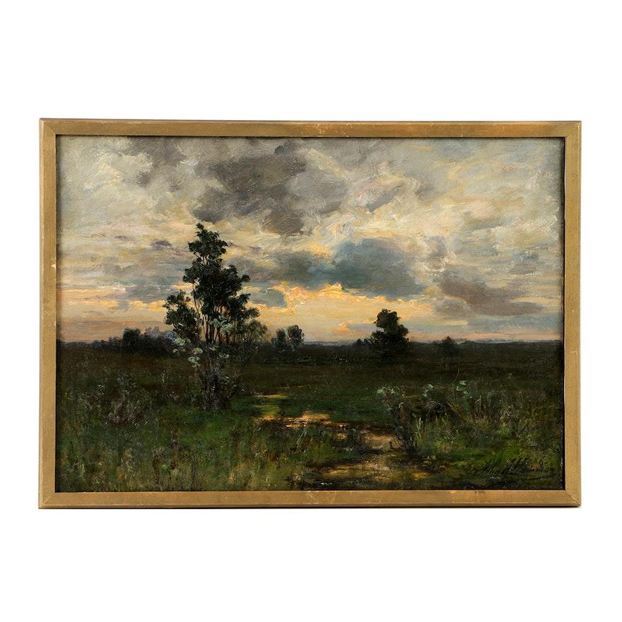 John J. Hammer Oil Painting on Canvas of Landscape