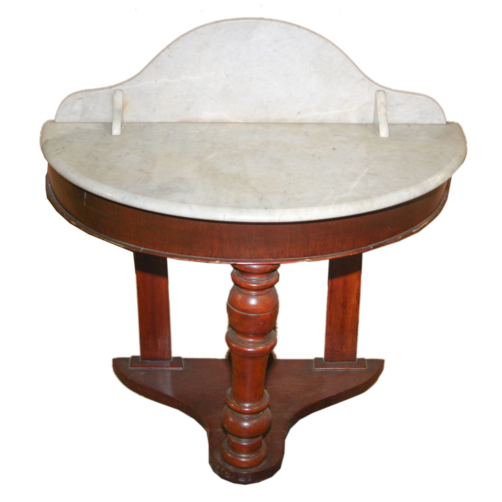 Marble Top Demilune Console Table