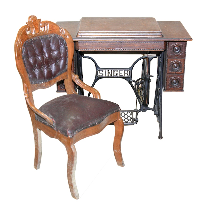 Antique Singer Sewing Machine and Table With Chair ... - Antique Singer Sewing Machine And Table With Chair : EBTH