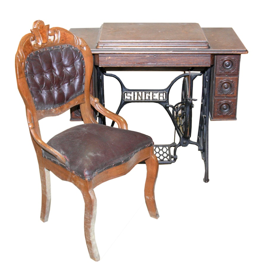 Antique sewing chair - Antique Singer Sewing Machine And Table With Chair