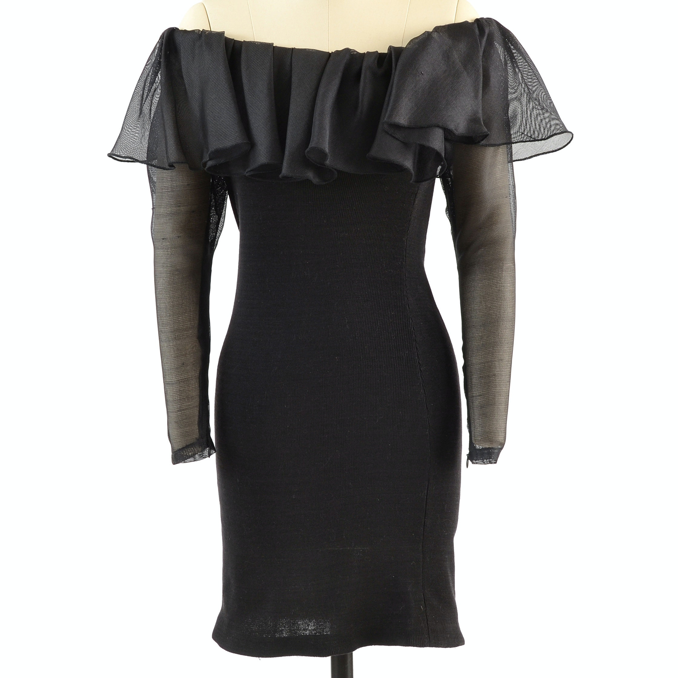Yves Saint Laurent Rive Gauche Black Knit and Ruffled Mesh Off-The-Shoulder Body Con Dress