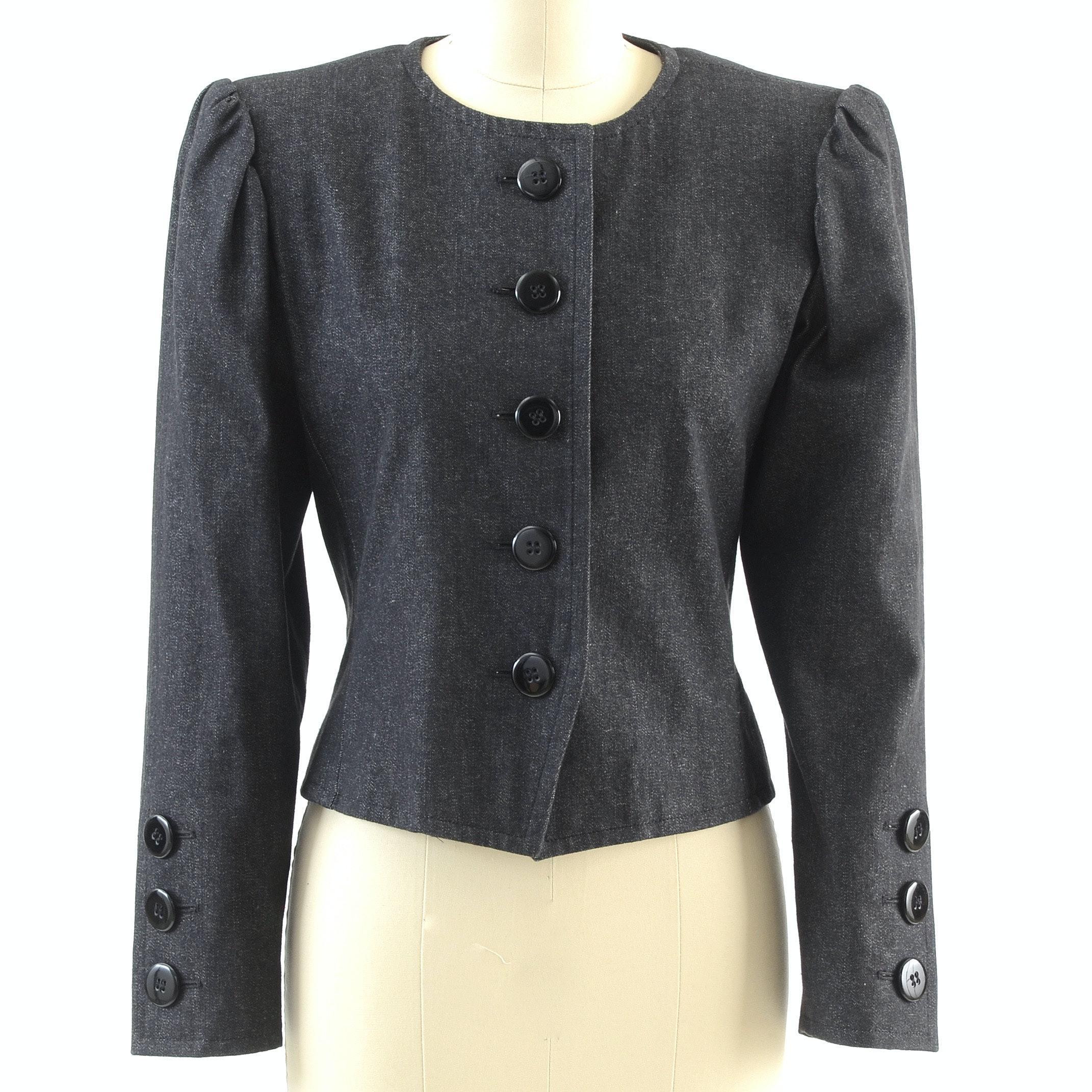 1980s Saint Laurent Rive Gauche of Paris Black Denim Button Front Jacket
