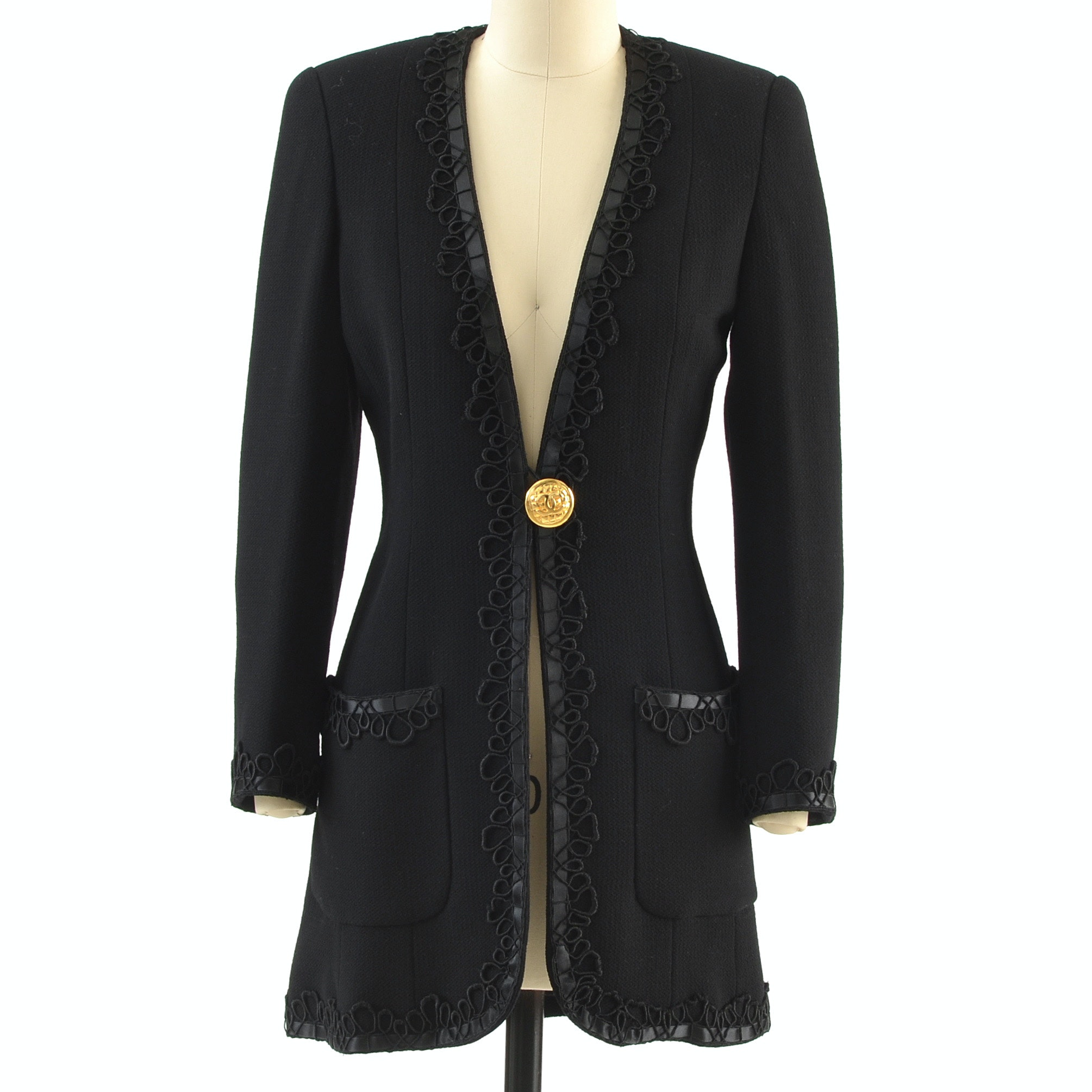 Chanel Boutique CC Logo Single Button Front Black Wool Suit Jacket