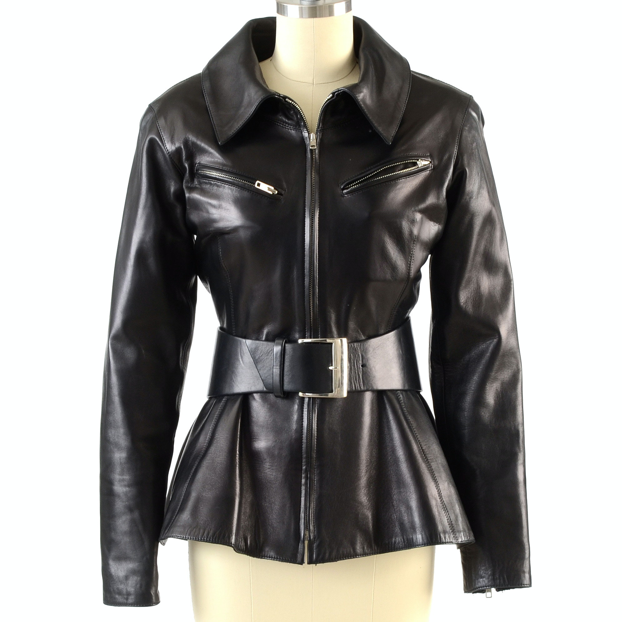 Claude Montana of Paris Black Noir Lambskin Leather Jacket