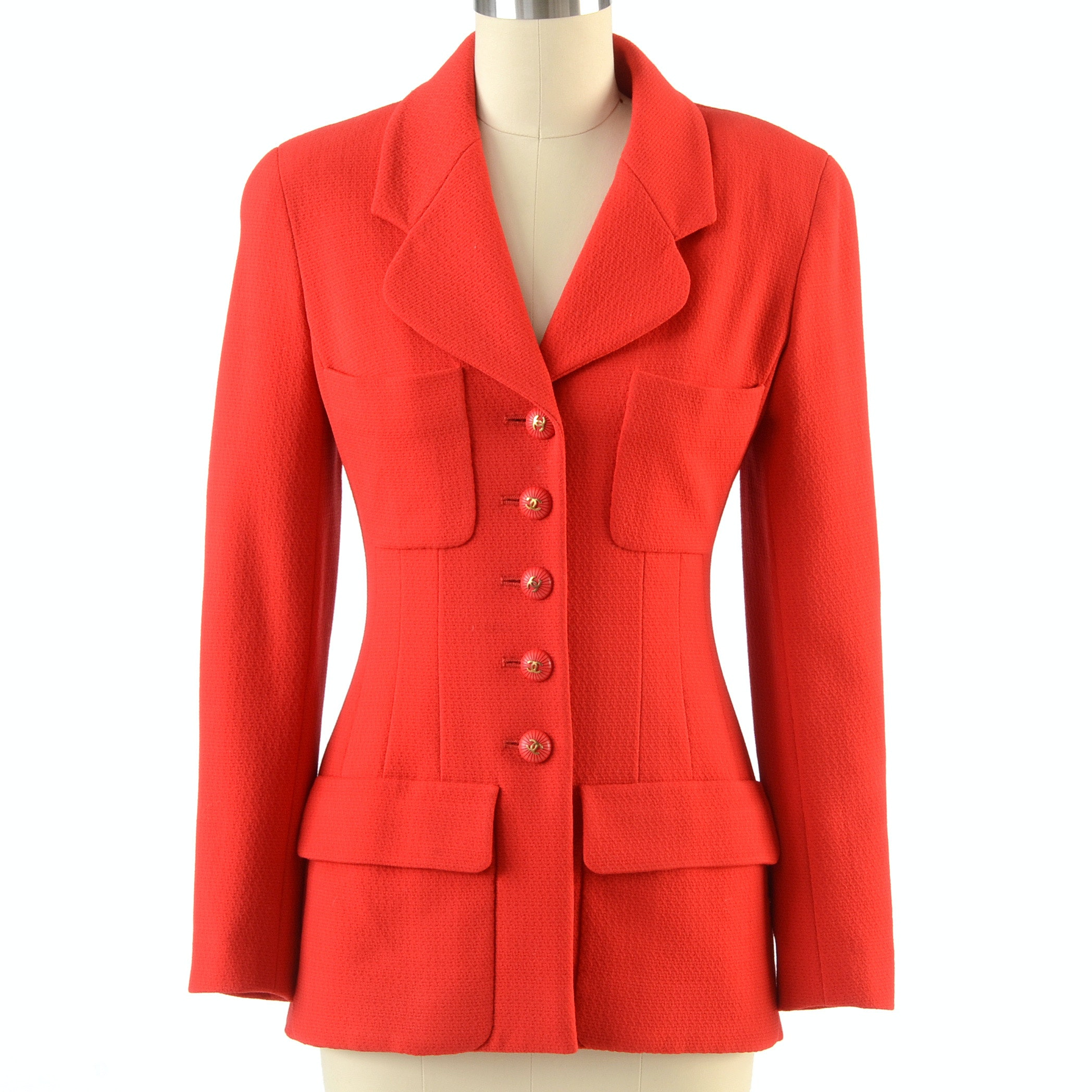 Chanel Boutique Red Wool Suit Blazer