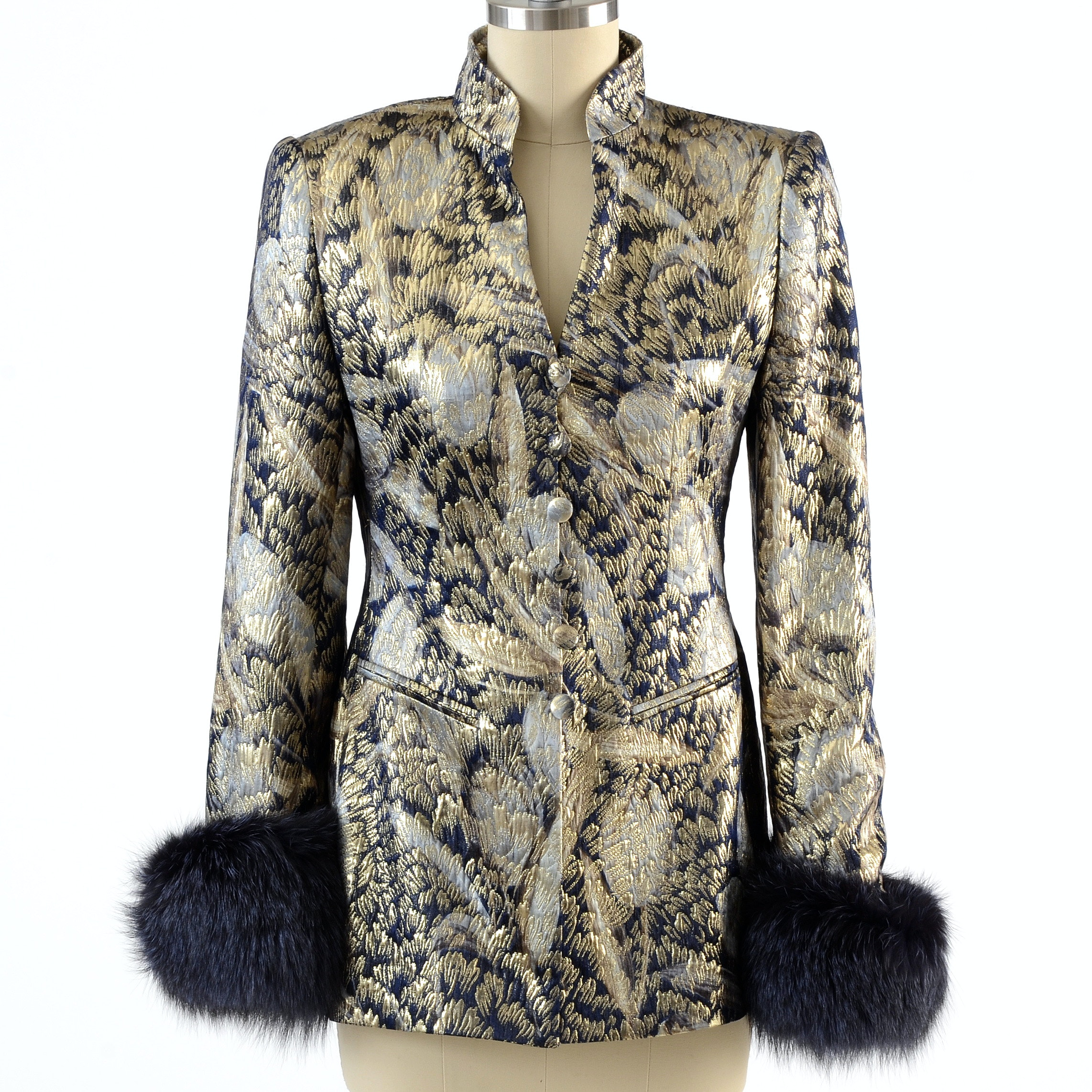 "Escada Couture Metallic Gold and Midnight Blue Brocade Jacket with Dyed Fox Fur Sleeve Cuffs Susan Wore at ""For the Love of Literacy"" Benefit Auction"