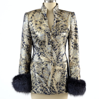 """Escada Couture Metallic Gold and Midnight Blue Brocade Jacket with Dyed Fox Fur Sleeve Cuffs Susan Wore at """"For the Love of Literacy"""" Benefit Auction"""