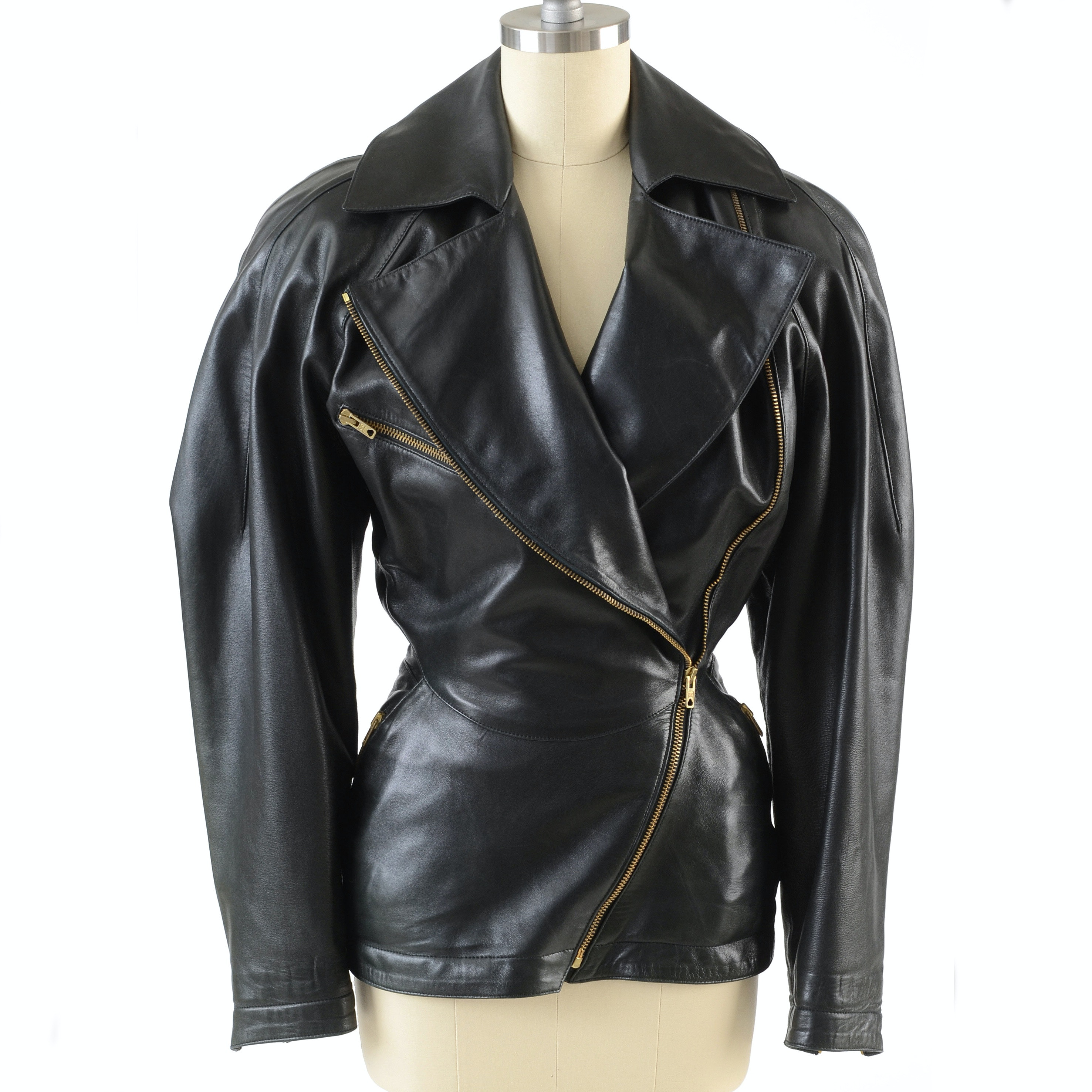 1980s Alaïa of Paris Designer Black Noir Lambskin Leather Jacket
