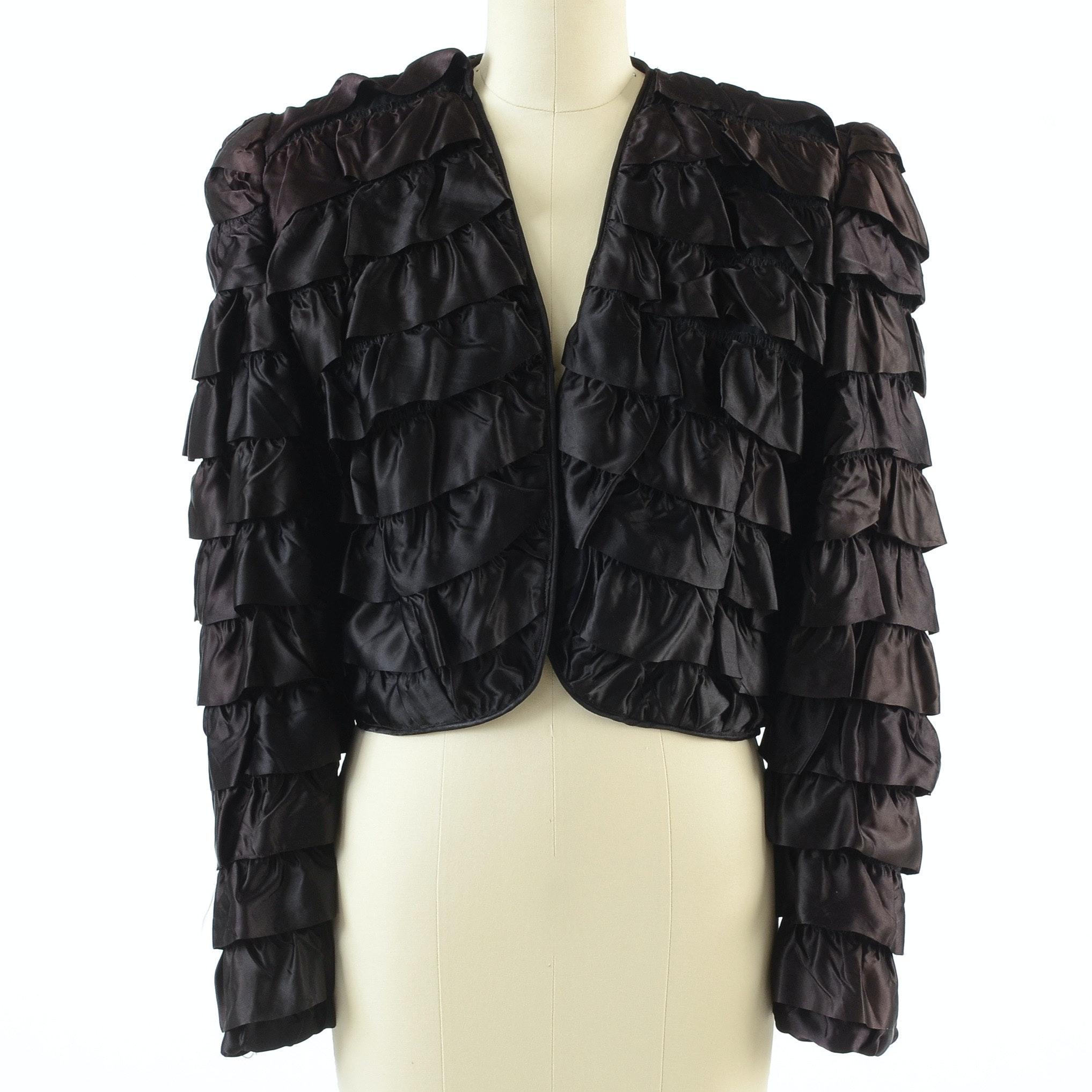 Vintage C. M. Lafra of New York Couture Black Silk Ruffled Crop Jacket