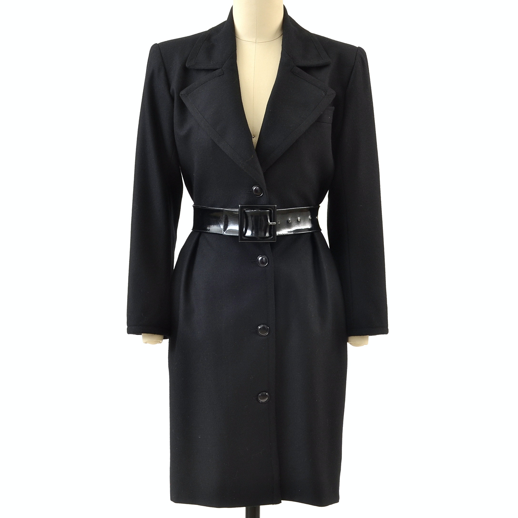 1980s Saint Laurent Rive Gauche of Paris Designer Black Cashmere Wool Dress Coat