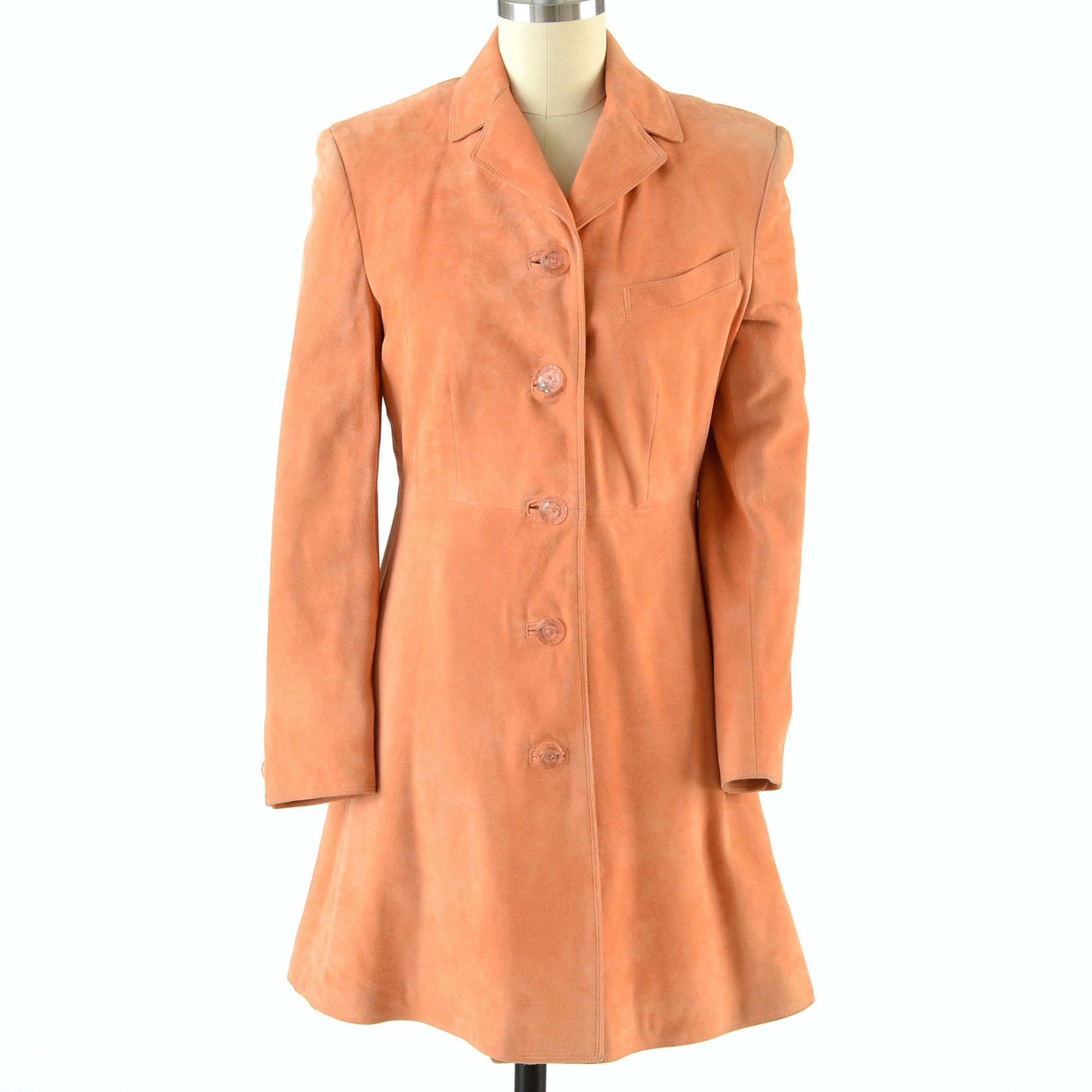 Gianni Versace Peach Suede Leather Coat