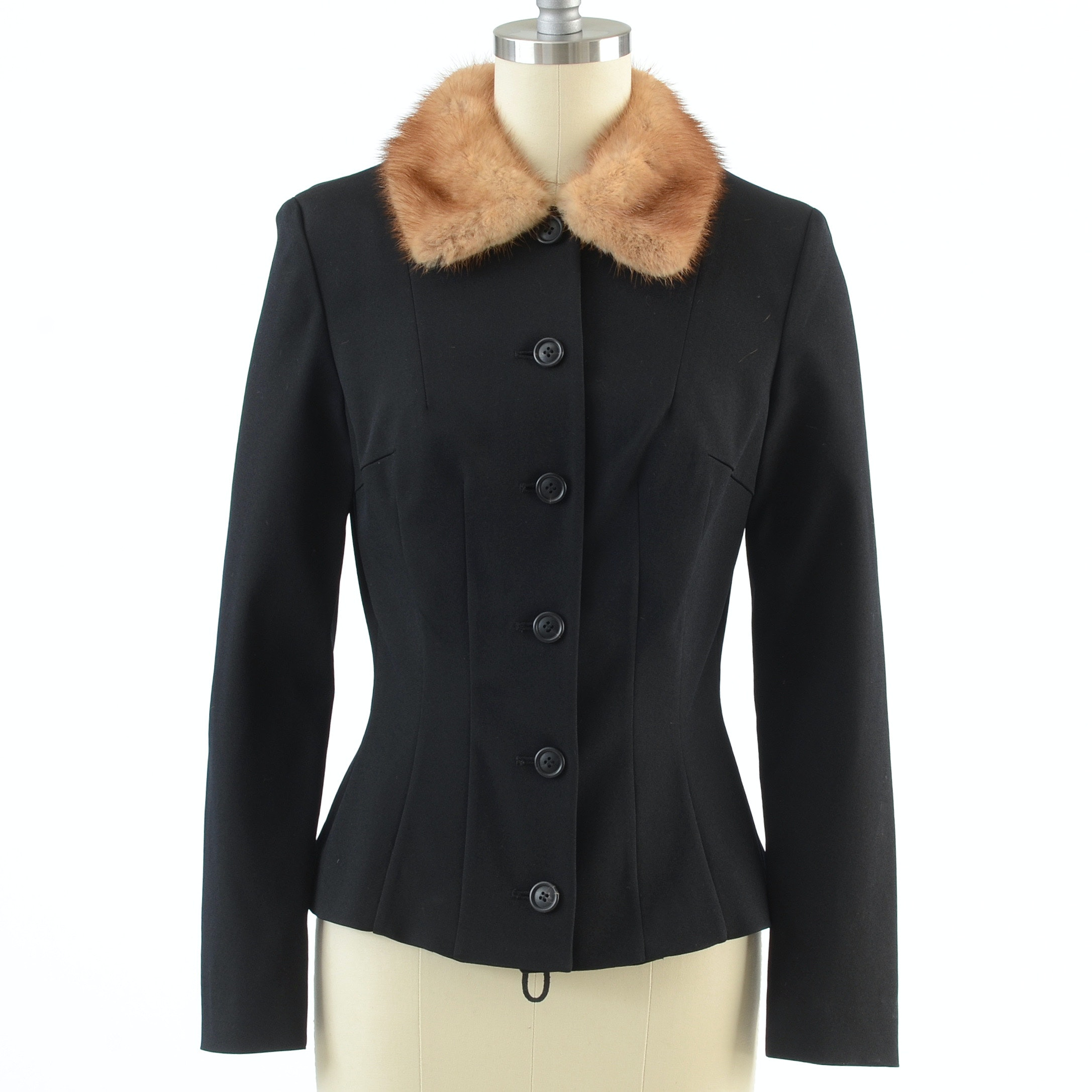 Dolce & Gabbana Black Button Front Jacket with Natural Mink Collar