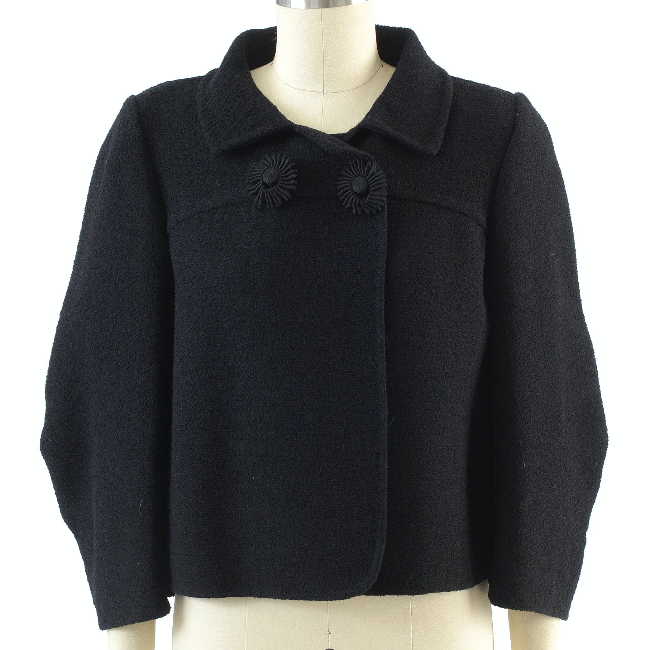 Oscar De La Renta Black Wool Blend Vintage Inspired Crop Jacket