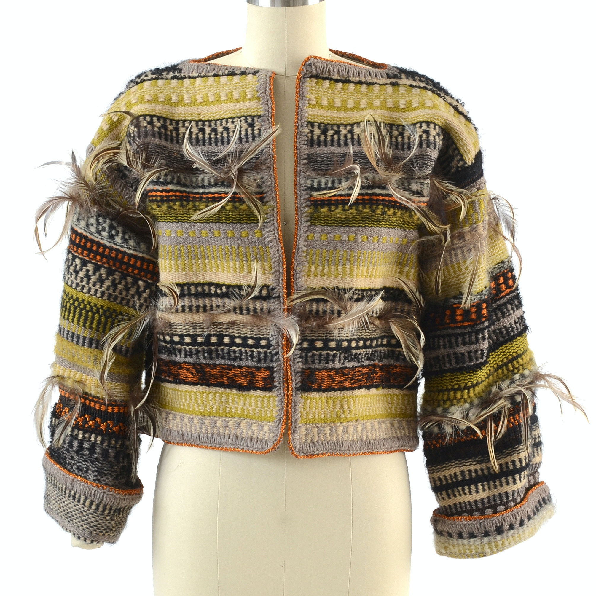 Michaele Vollbrach Wool Blanket Open Front Crop Jacket with Feathers
