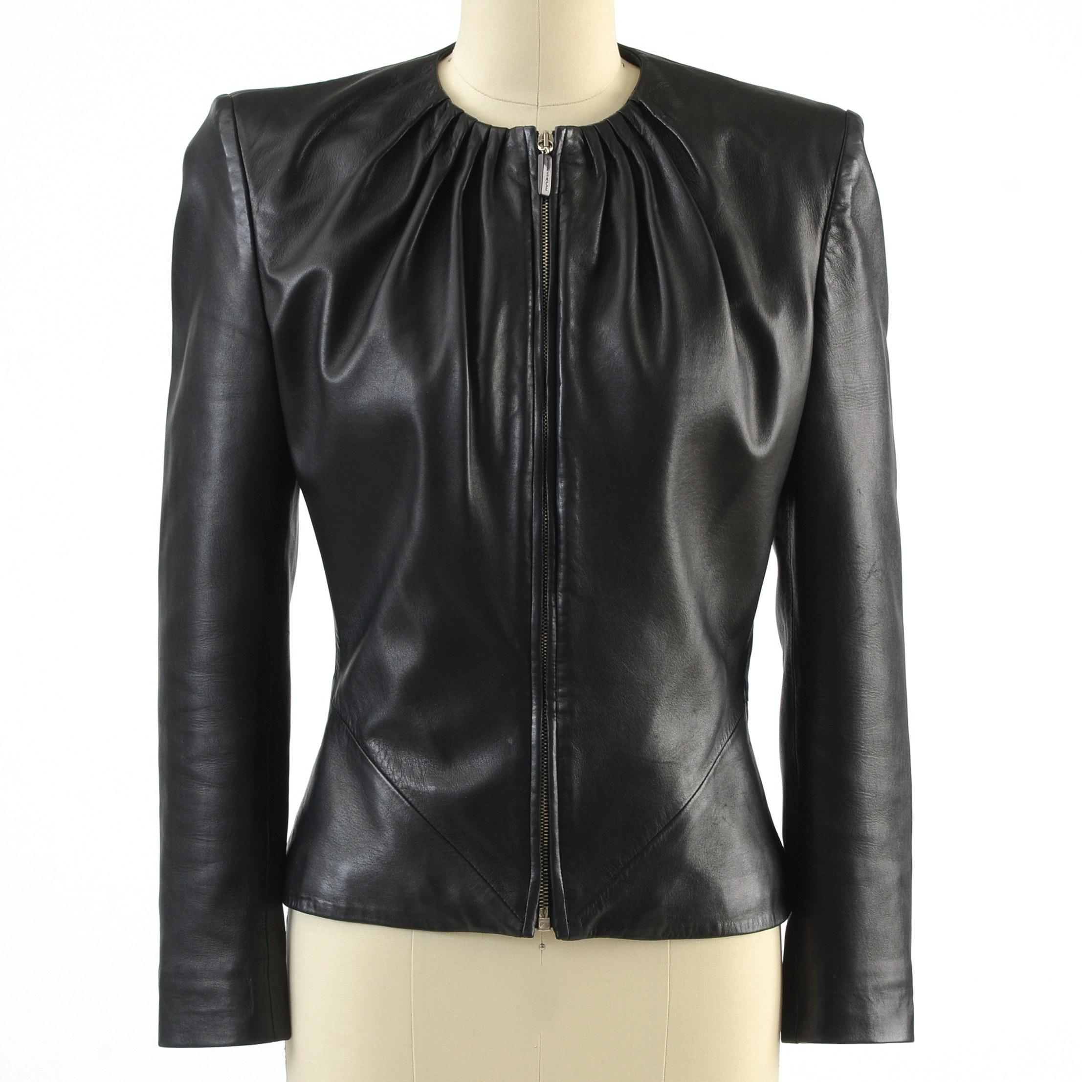 Gianni Versace Black Lambskin Leather Jacket