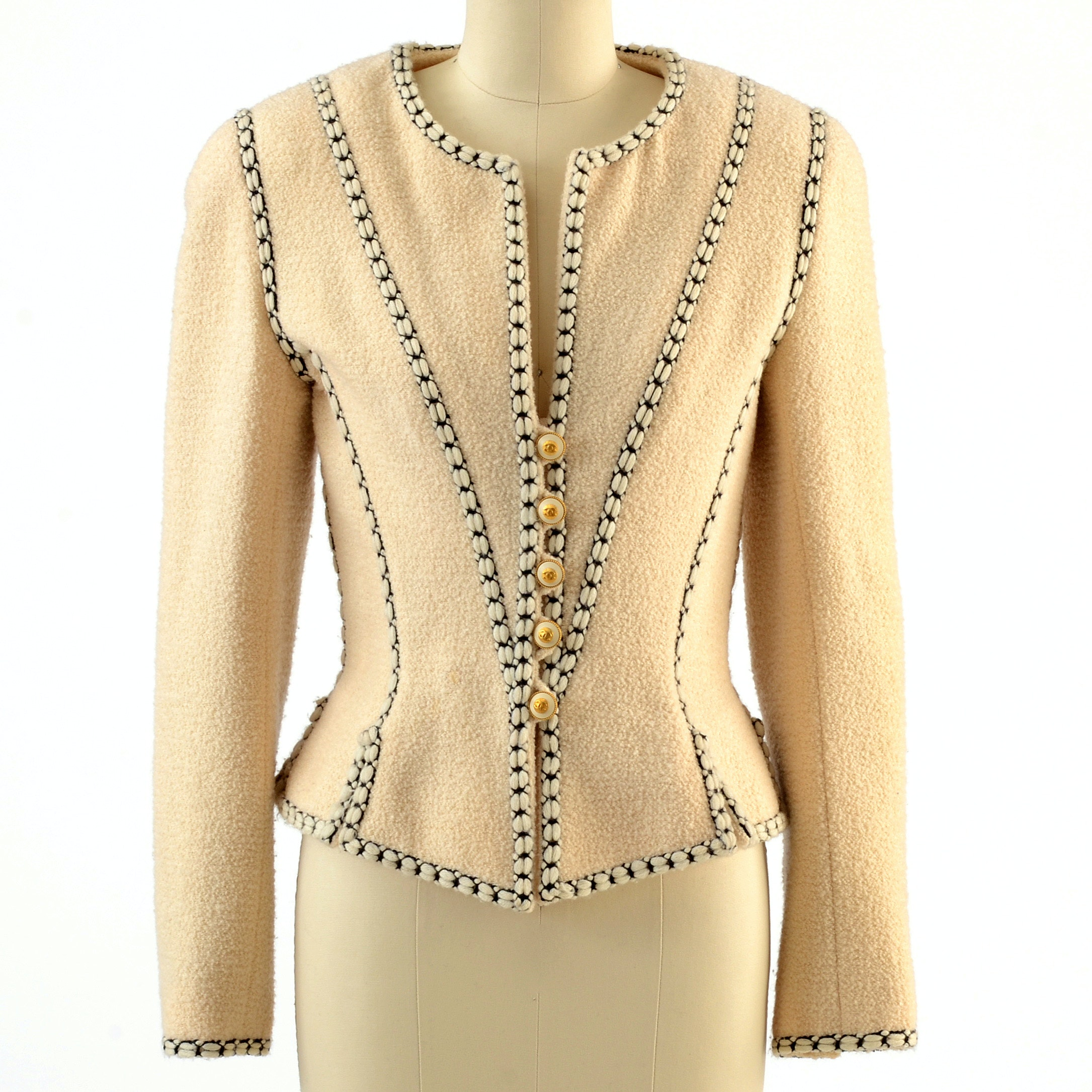 1990s Chanel Boutique CC Logo Button Front Ivory Boiled Wool and Silk Suit Jacket Trimmed in Black