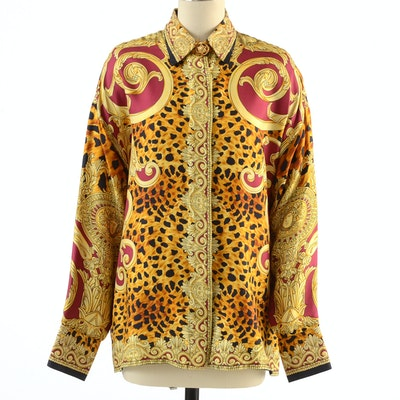 Gianni Versace Couture Soie Silk Print Button Front Blouse