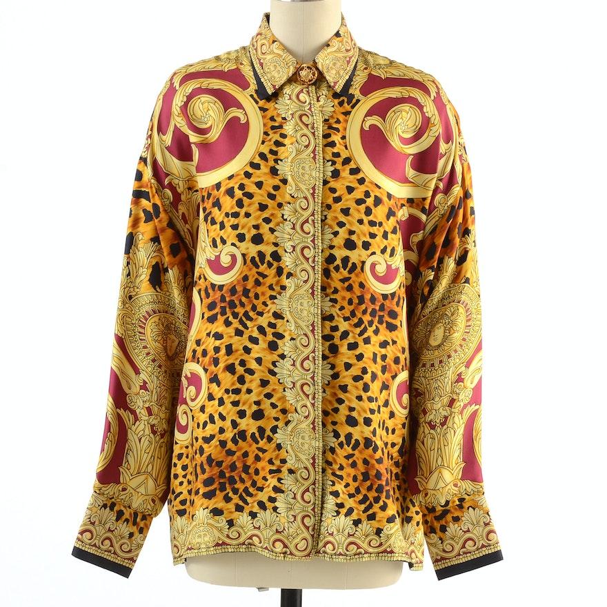 Gianni Versace Couture Soie Silk Print Button Front Blouse