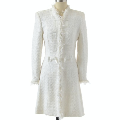 """Escada White Knit Mid-Length Dress Coat Susan Wore at Event Promoting Her Memoir """"All My Life"""""""