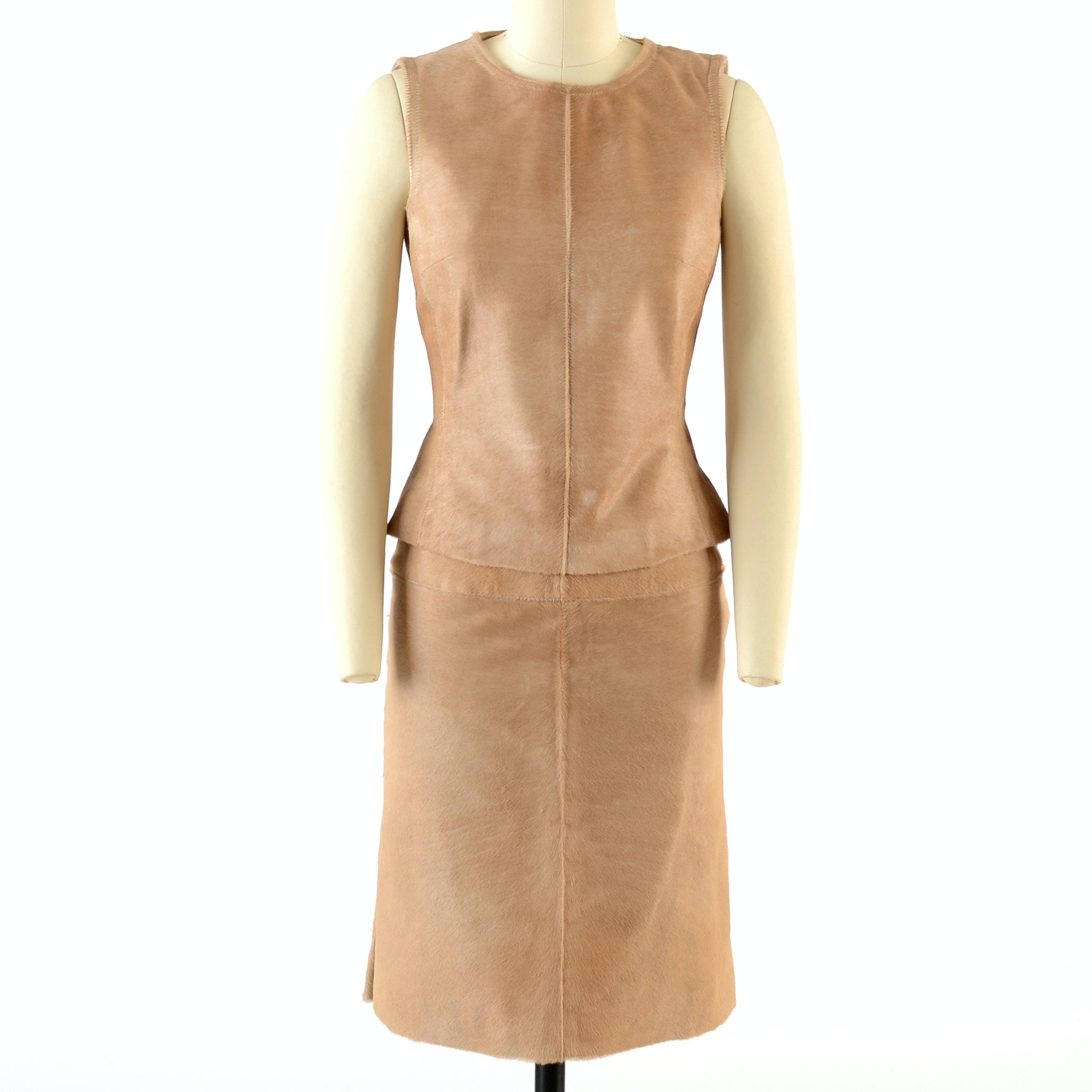 J. Mendel of Paris Ponyskin Leather Sleeveless Top and Matching Skirt