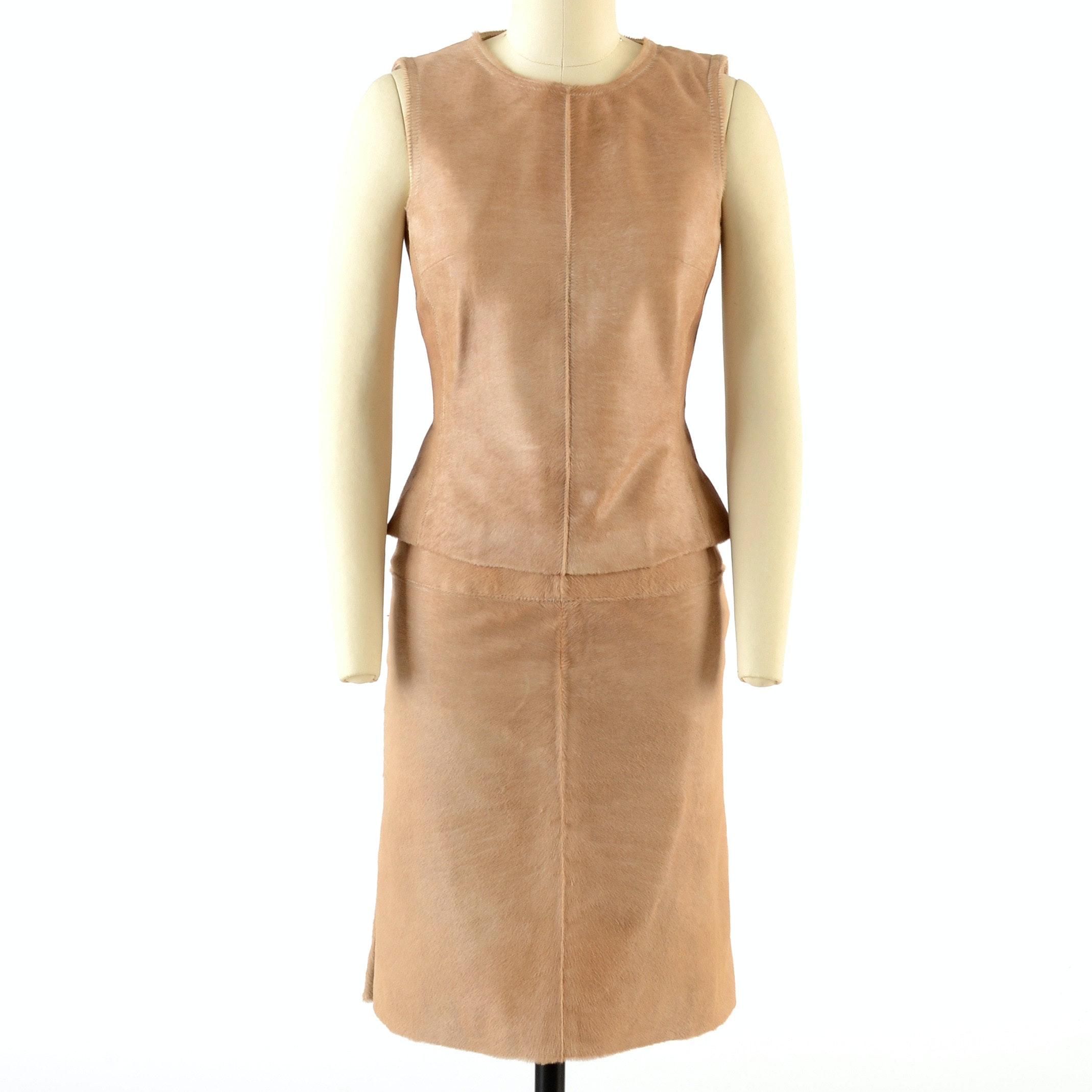 J. Mendel of Paris Ponyskin Leather Sleeveless Top and Matching Skirt