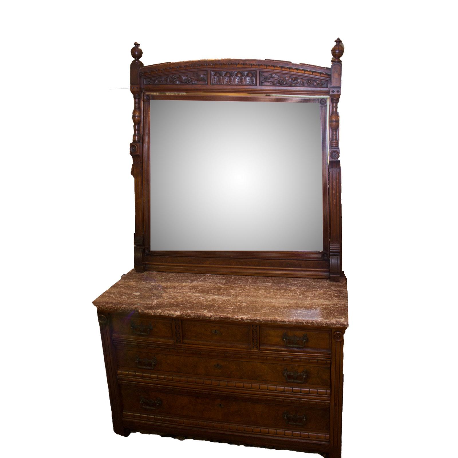 Antique To Vintage Marble Top Eastlake Dresser With Mirror