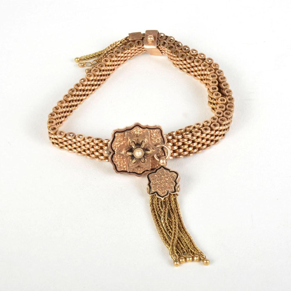 14K Yellow Gold Vintage Bracelet with Tassels and Slide Size Adjustment
