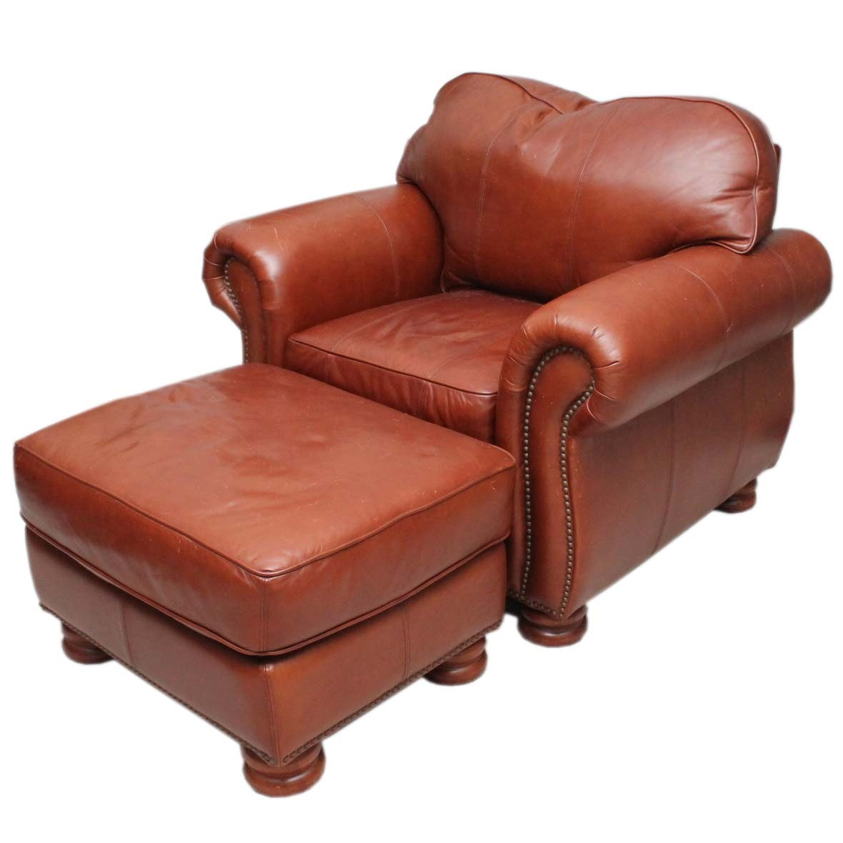 Thomasville Brown Leather Chair and Ottoman