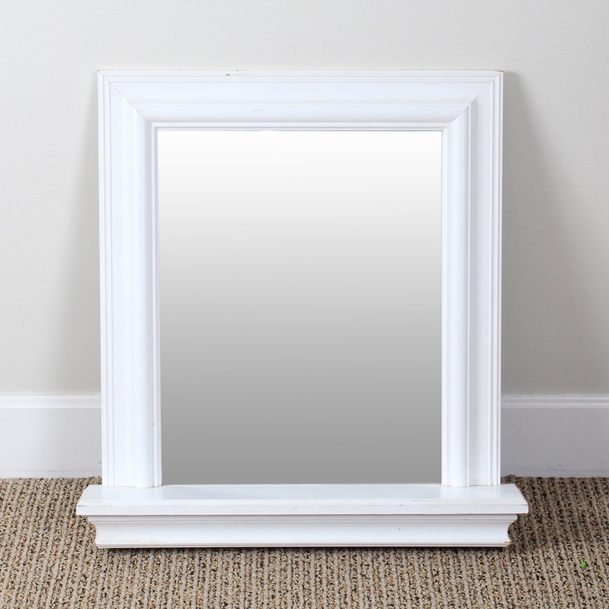 White Wooden Frame Wall Mirror With Shelf : EBTH