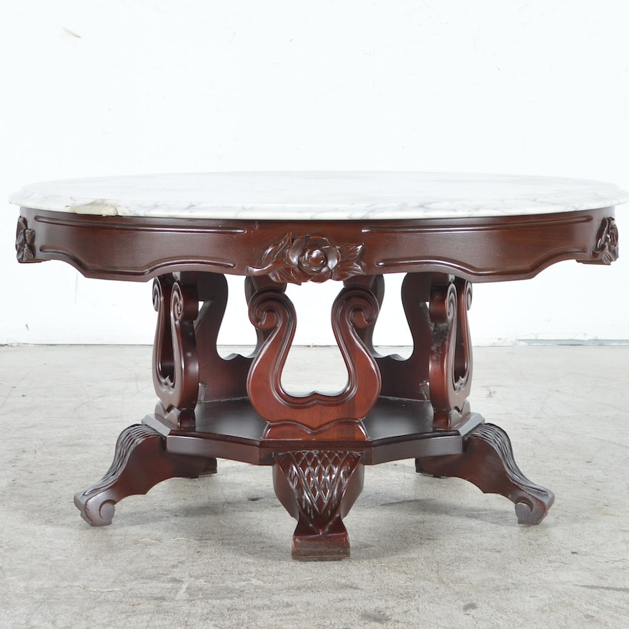 Reproduction Victorian Style Coffee Table With Marble Top Ebth