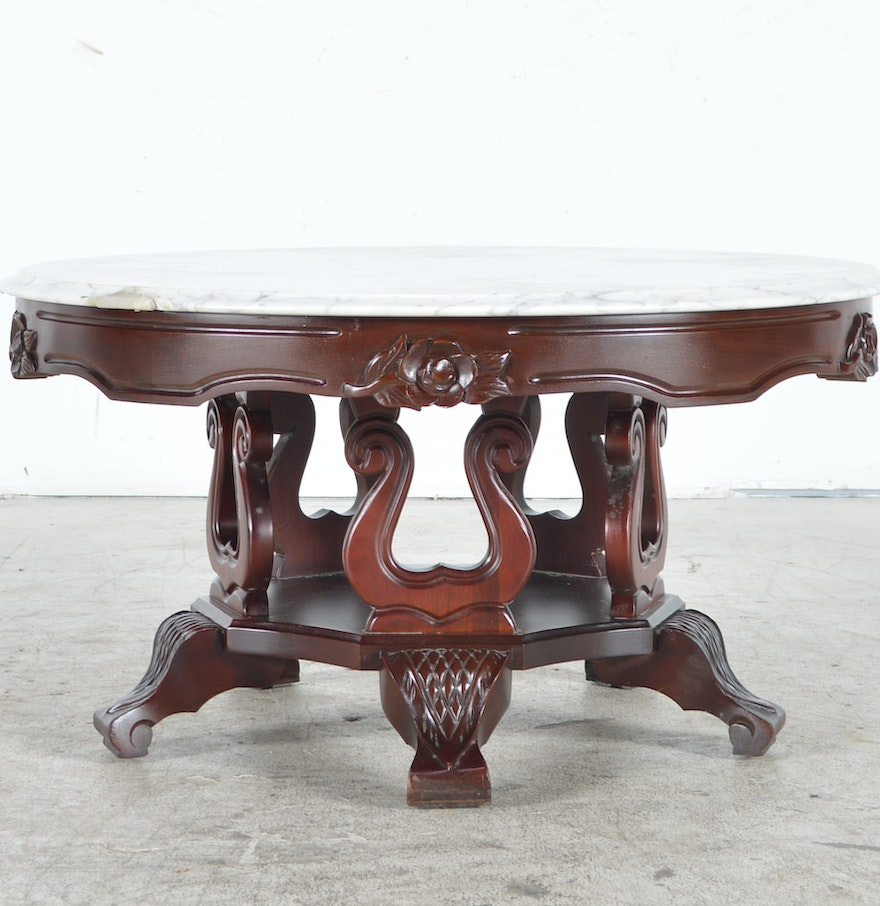 Reproduction victorian style coffee table with marble top ebth reproduction victorian style coffee table with marble top geotapseo Images