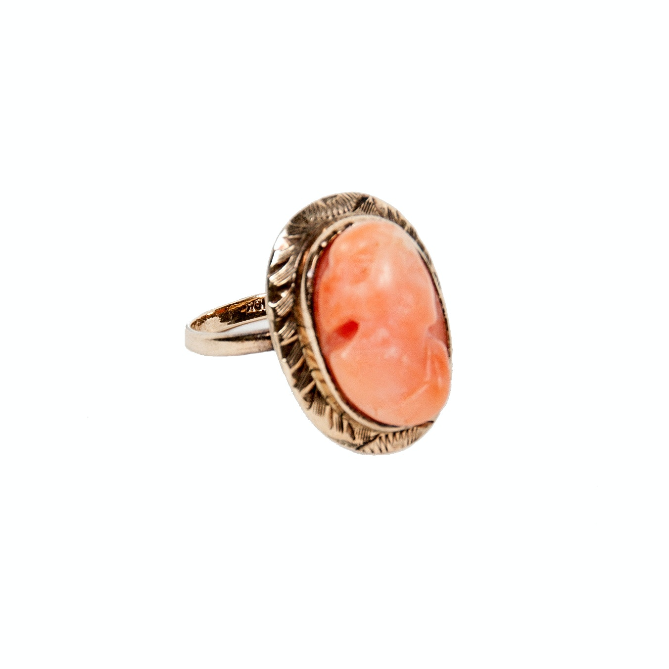 10K Yellow Gold and Coral Cameo Ring