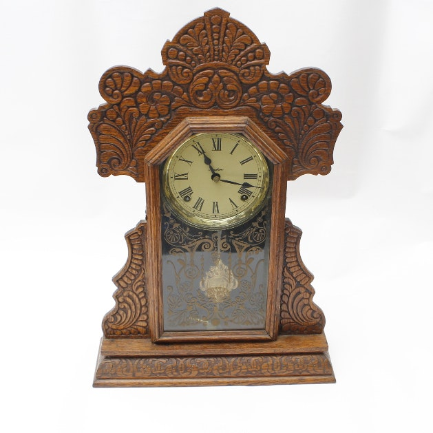 antique ingraham kitchen mantle clock circa with key - Mantle Clock