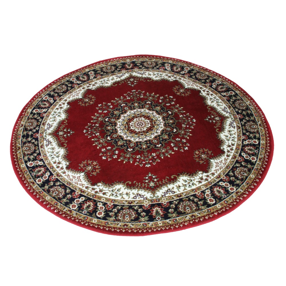 machine woven persianstyle round accent rug  ebth, 3' round accent rug, half round accent rugs, large round accent rugs