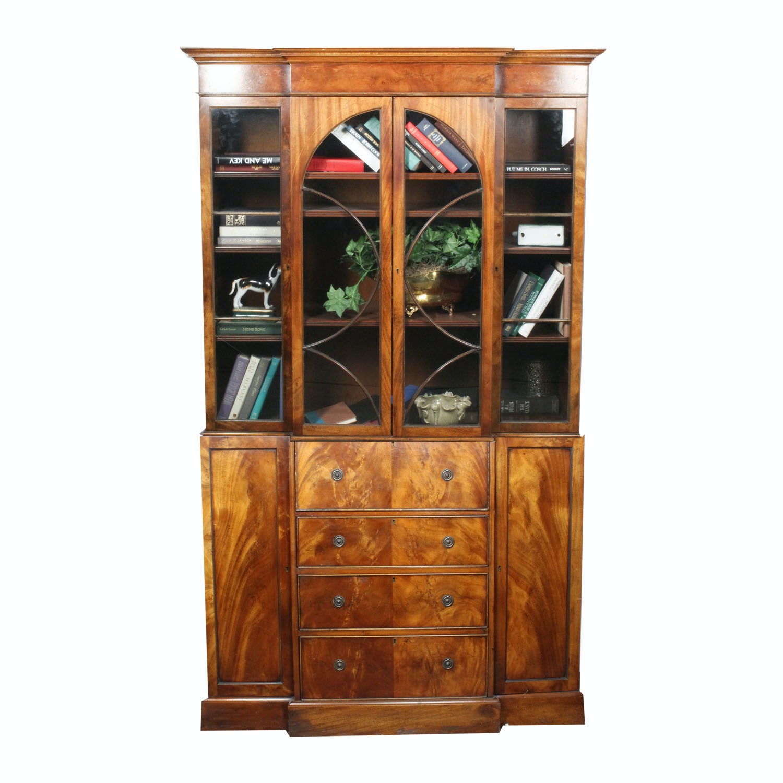 Burled Walnut Veneer Two-Piece Secretary Cabinet