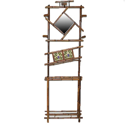 Antique Bamboo Hall Tree With Mirror. Furniture Auctions Online   Antique Furniture Auctions in Art