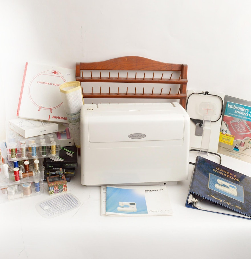 Janome memory craft 9000 - Janome Memory Craft 9000 Sewing Machine And Accessories