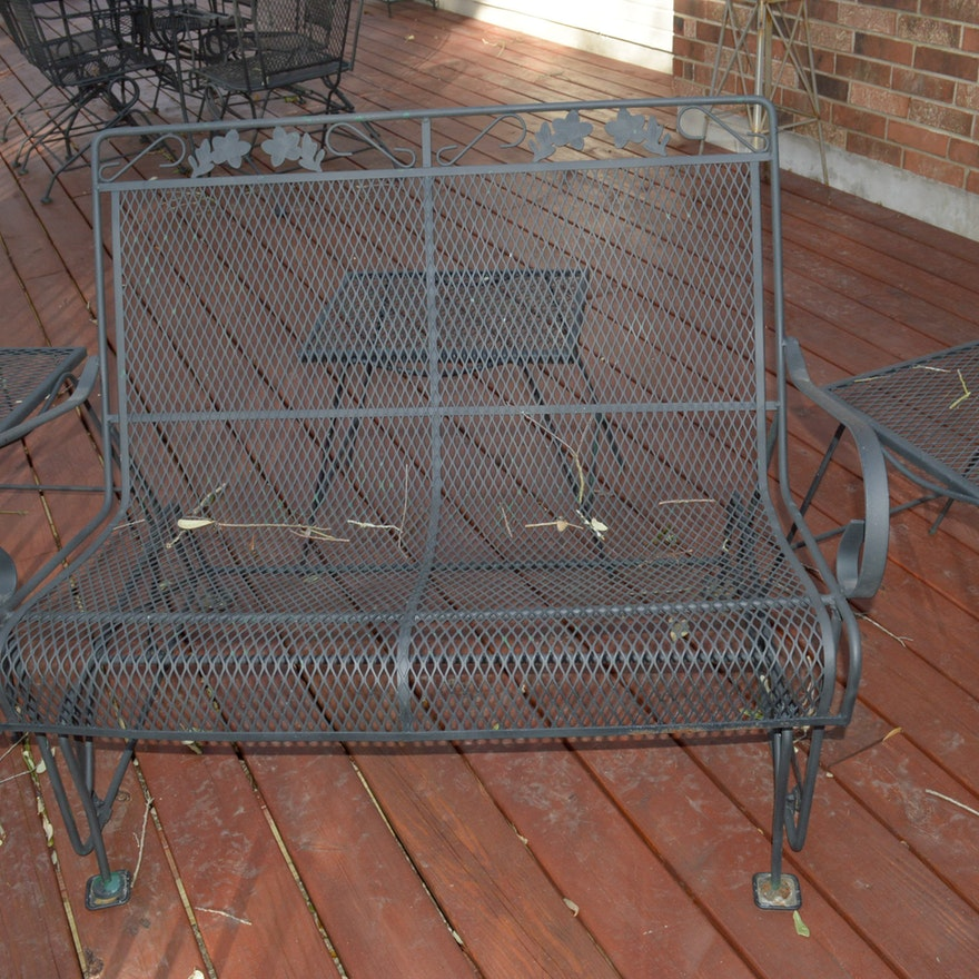 Wrought Iron Patio Glider Bench And End Tables