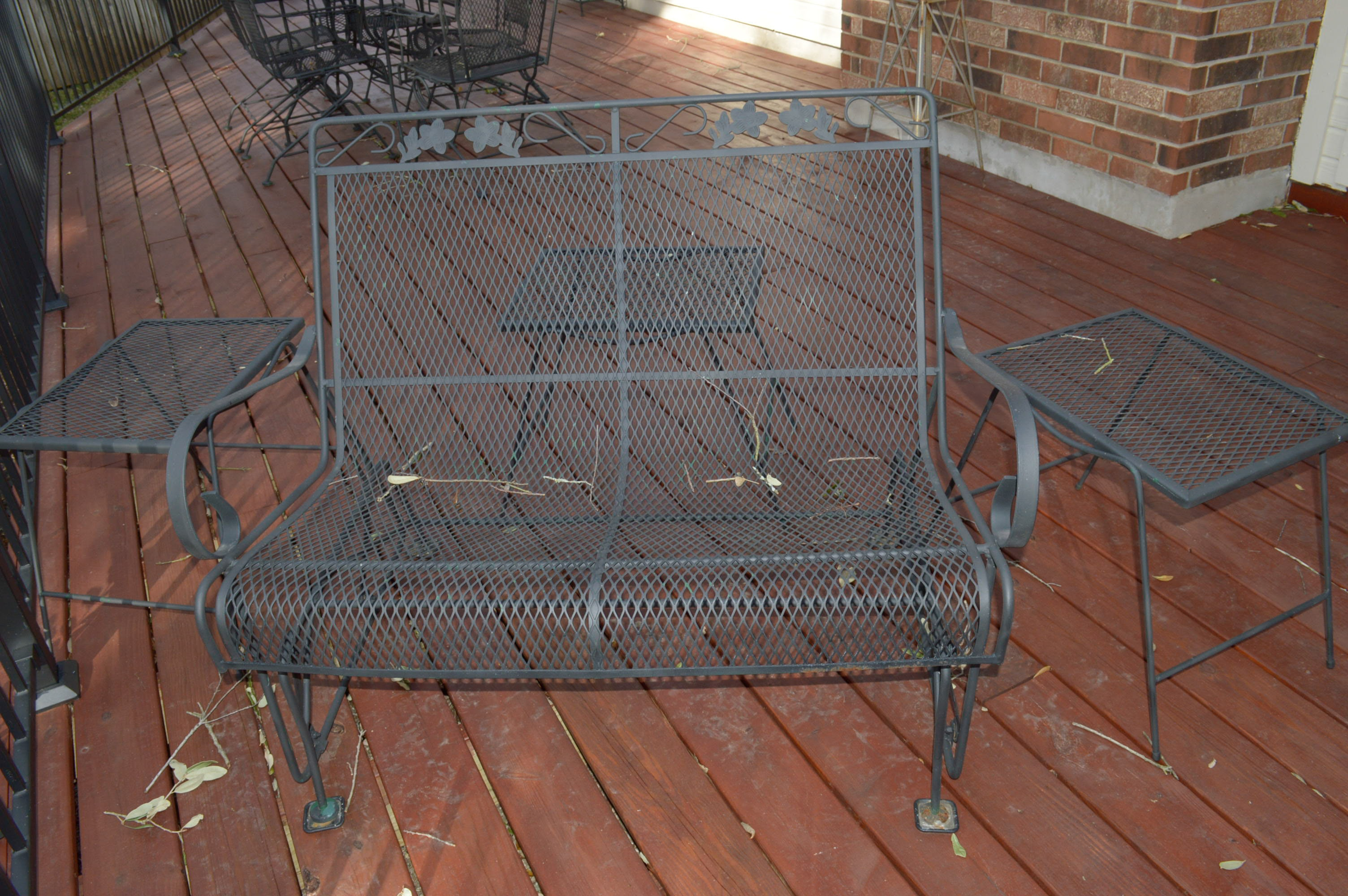 Wonderful Wrought Iron Patio Glider Bench And End Tables ...