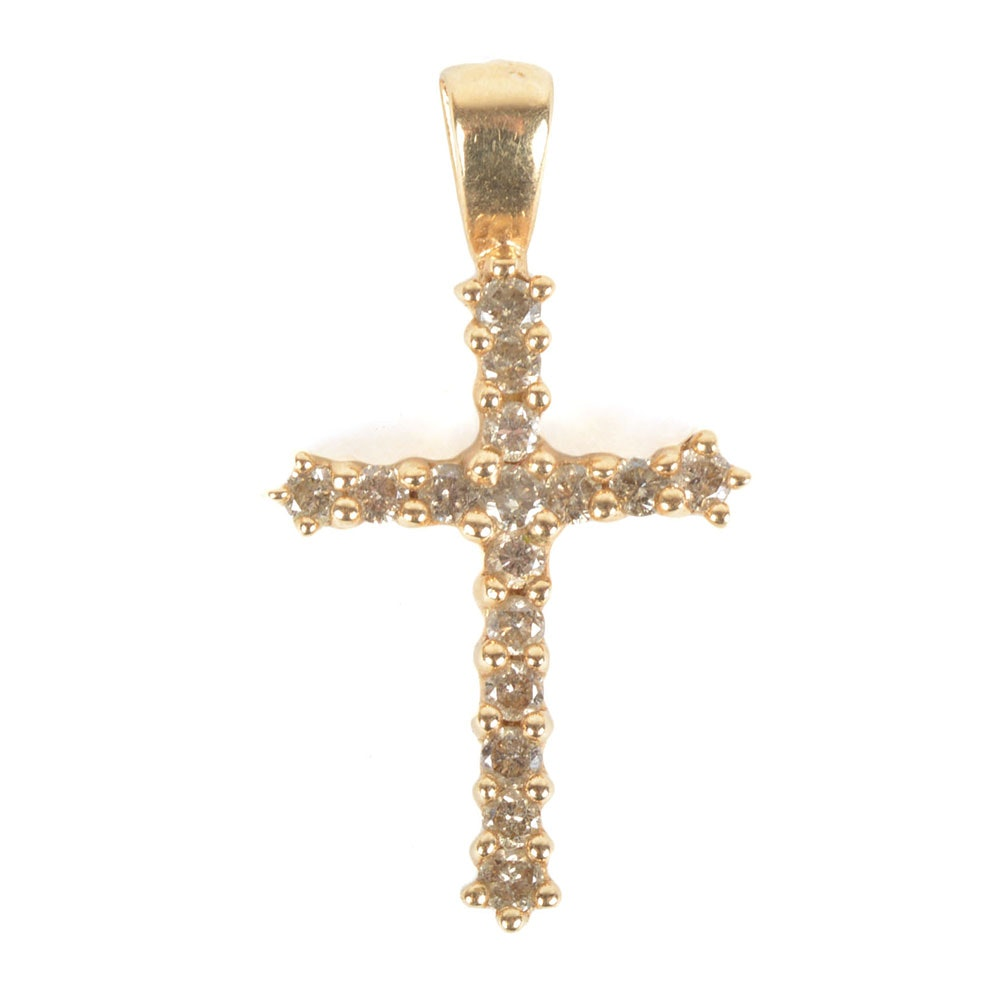 10k gold cz cross pendant ebth