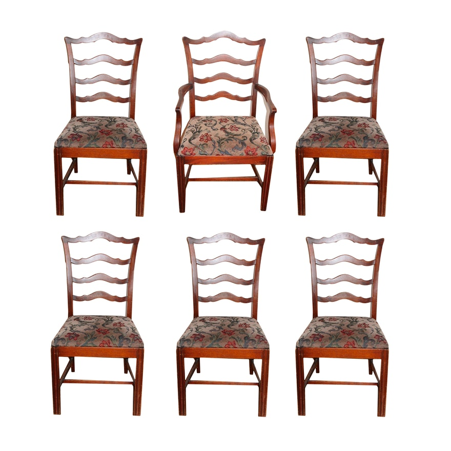 Vintage Chippendale Style Ladder Back Dining Chairs Ebth